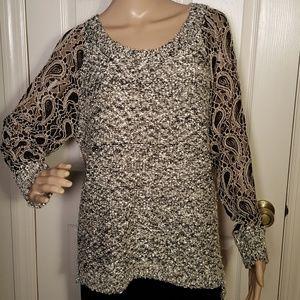 Escio Lace Paisley Sleeve Sweater Size Large